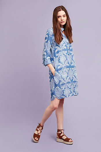 Ophelie Printed Shirt Dress, Blue