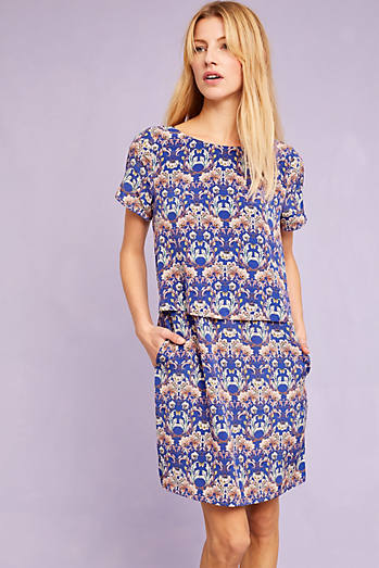 Evalina Printed Silk Dress, Blue