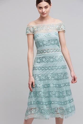 Elise Lace Off-The-Shoulder Dress, Mint