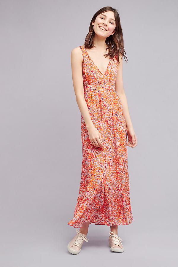 Luna Printed Maxi Dress, Red - Red, Size M