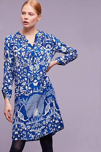 Larisa Printed Silk Dress, Blue