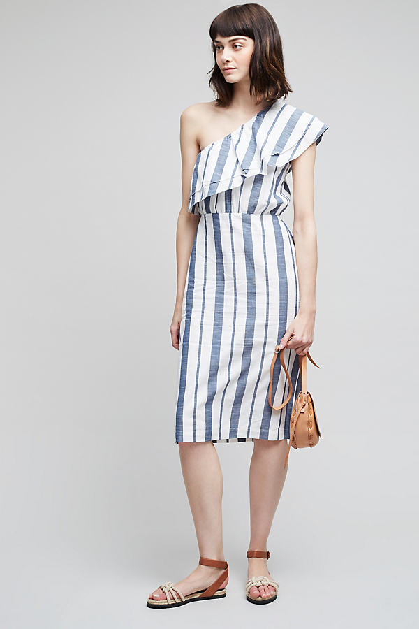 Mel Striped One-Shoulder Dress, Blue - Blue, Size 14