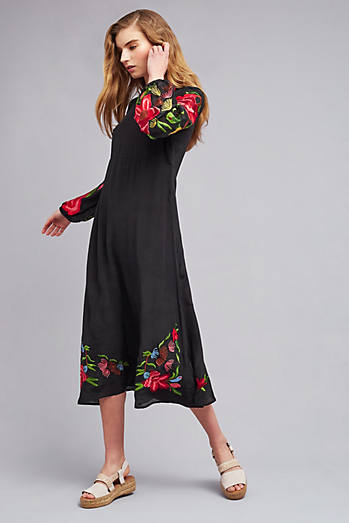 Angelina Embroidered Midi Dress, Black