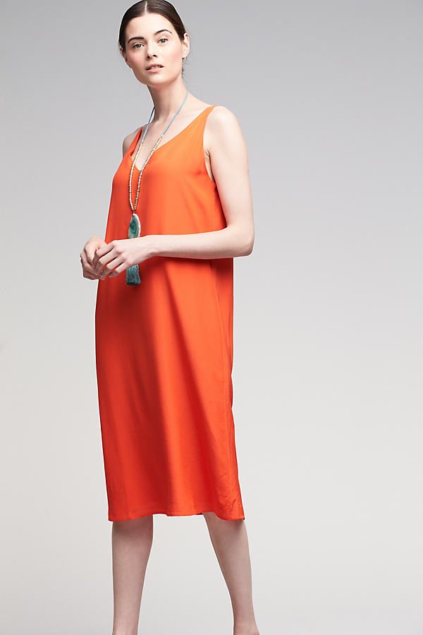 Sian Silk Midi Dress, Orange - Orange, Size 14