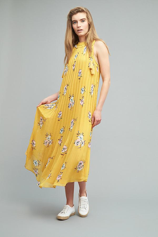Ruby Floral Maxi Dress - Yellow Motif, Size S