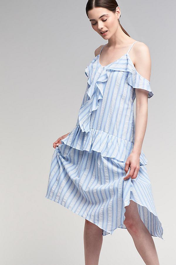 Eva Ruffled Dress - Blue, Size Xs