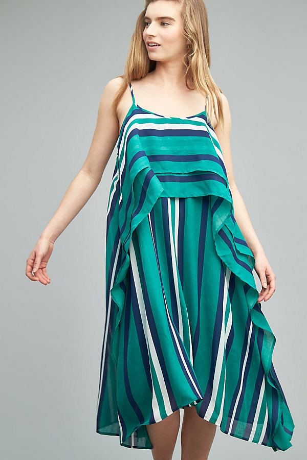 Perrie Striped Midi Dress, Green - Green Motif, Size S