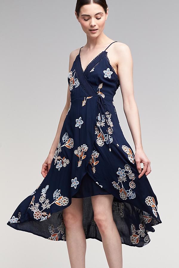 Esther Wrap Maxi Dress, Navy - Navy, Size S