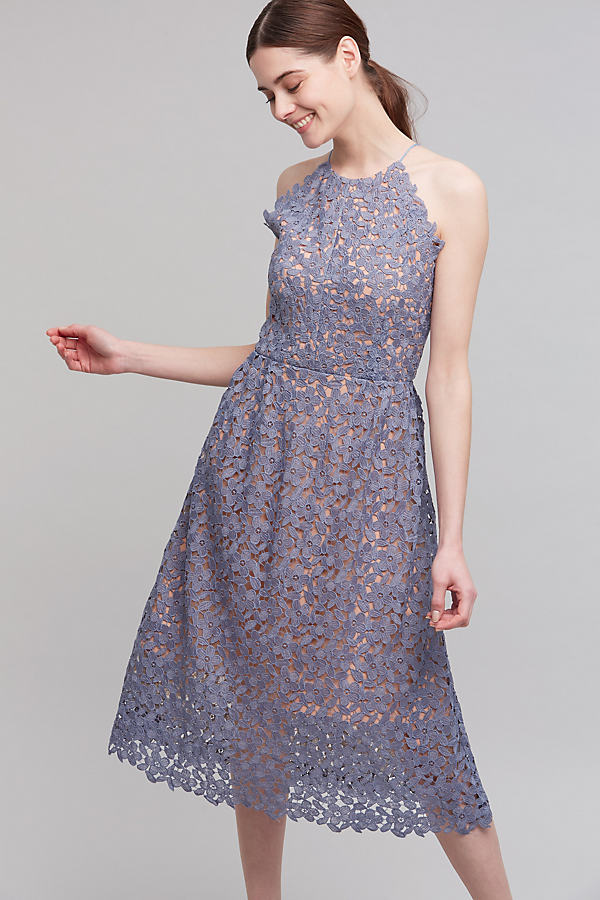Monique Halter Dress, Blue - Slate, Size 16