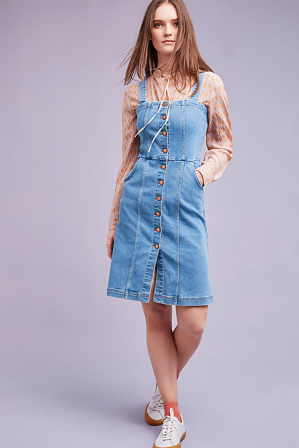 Slide View: 1: Robe chasuble en jean Eliza, bleue