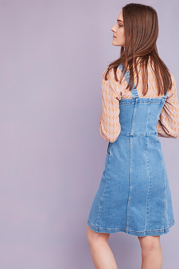 Slide View: 3: Robe chasuble en jean Eliza, bleue
