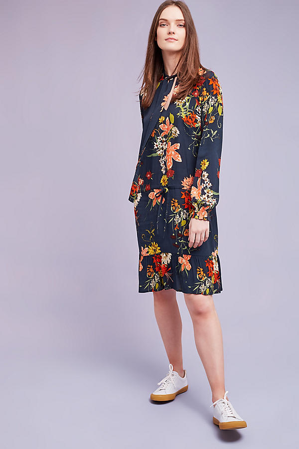 Slide View: 2: Cally Floral Dress, Navy