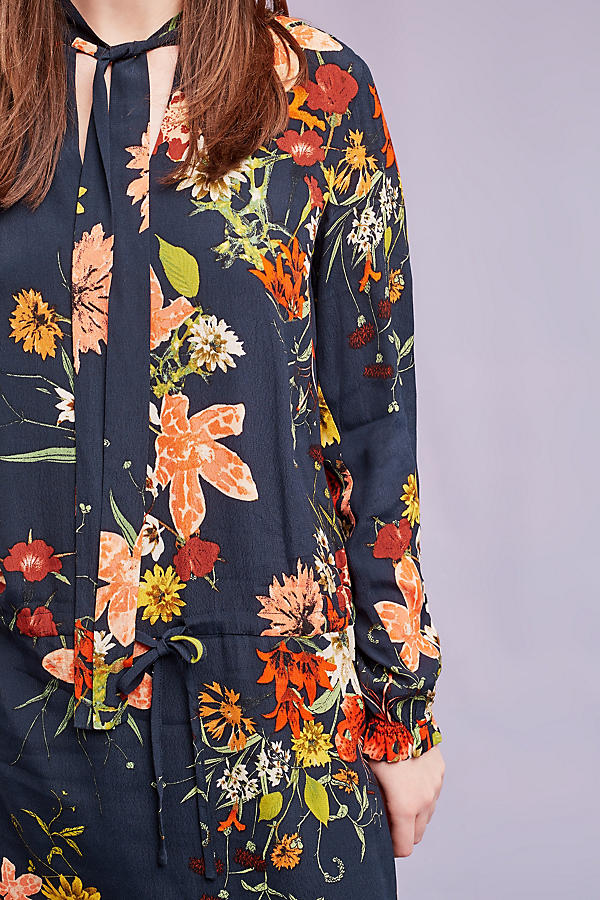 Slide View: 3: Cally Floral Dress, Navy