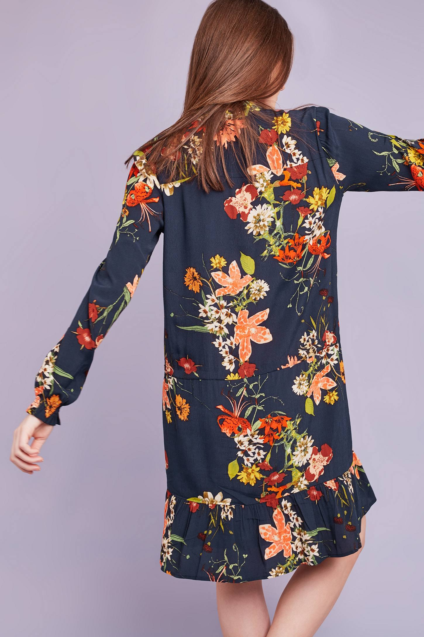 Slide View: 4: Cally Floral Dress, Navy