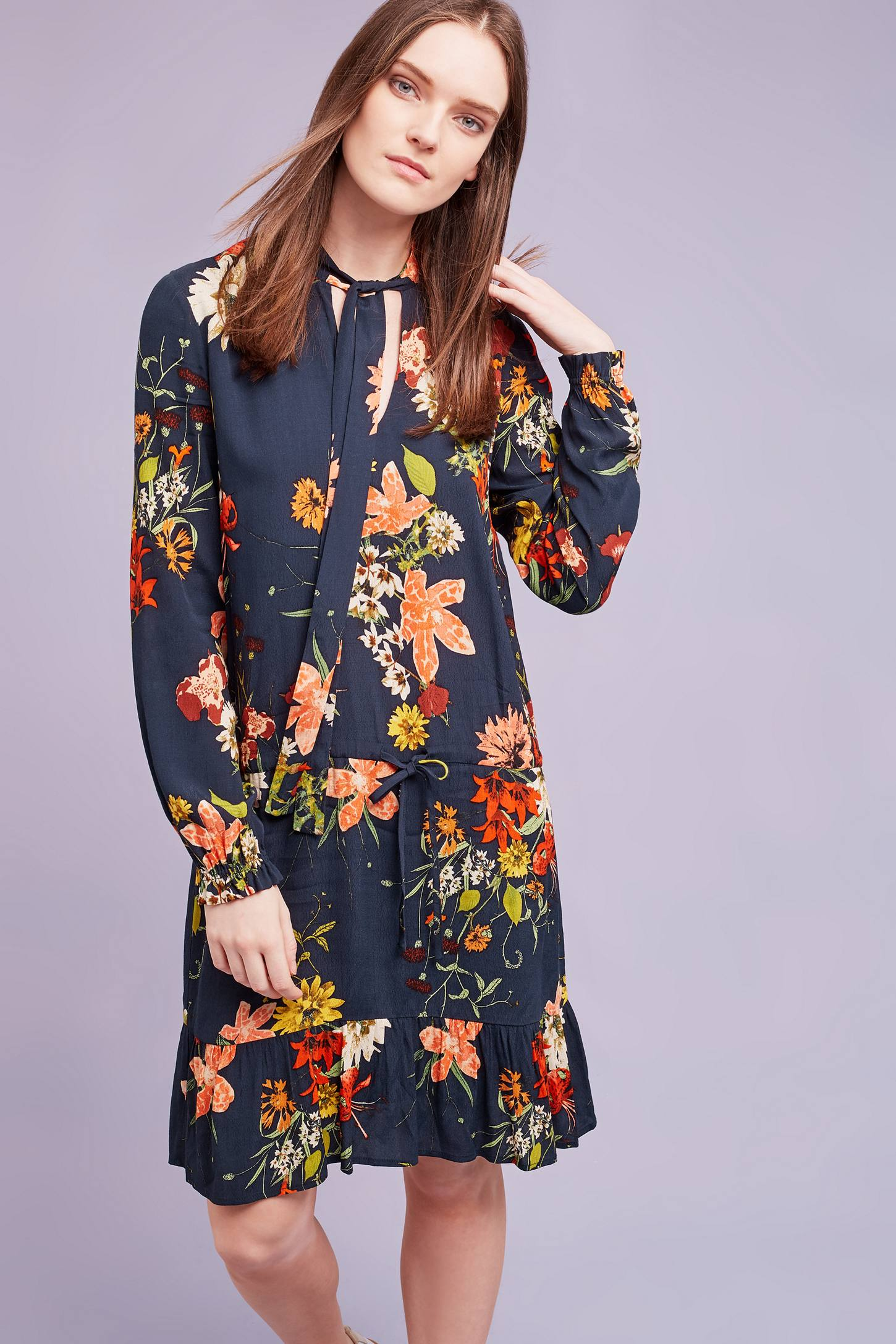 Slide View: 1: Cally Floral Dress, Navy