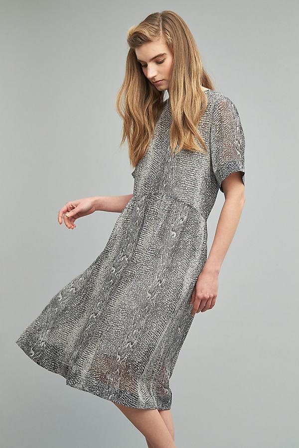 Gunita Snakeskin-Print Dress, Grey - Grey, Size Xl