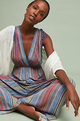Slide View: 1: Stiped Beach Jumpsuit
