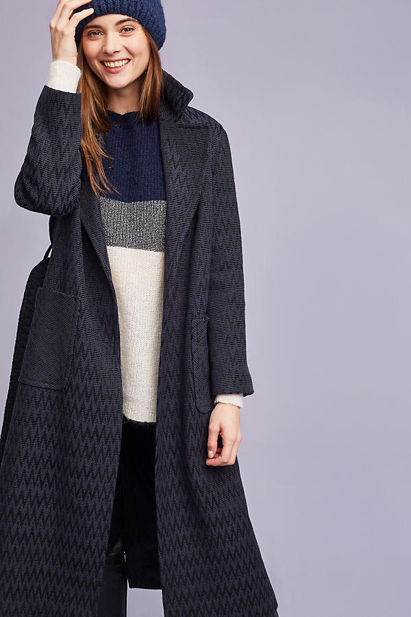 Slide View: 2: Alisa Wrap Coat, Navy