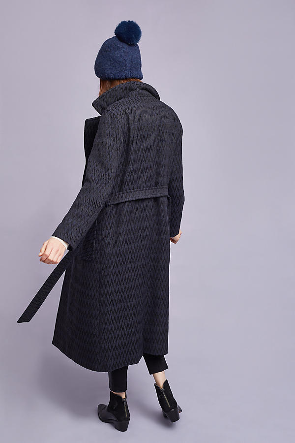 Slide View: 4: Alisa Wrap Coat, Navy
