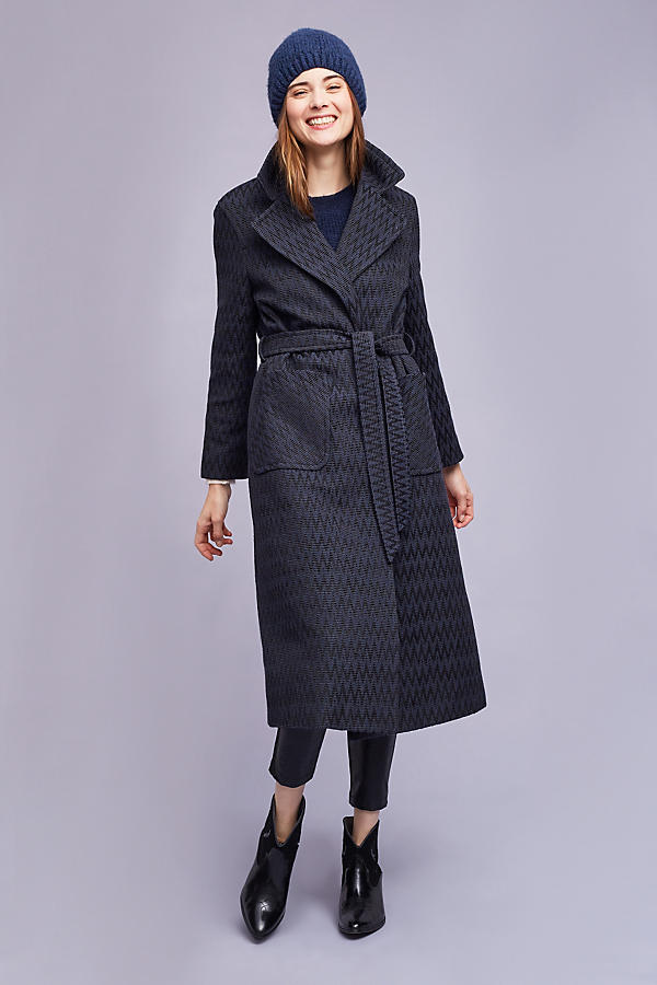 Slide View: 1: Alisa Wrap Coat, Navy