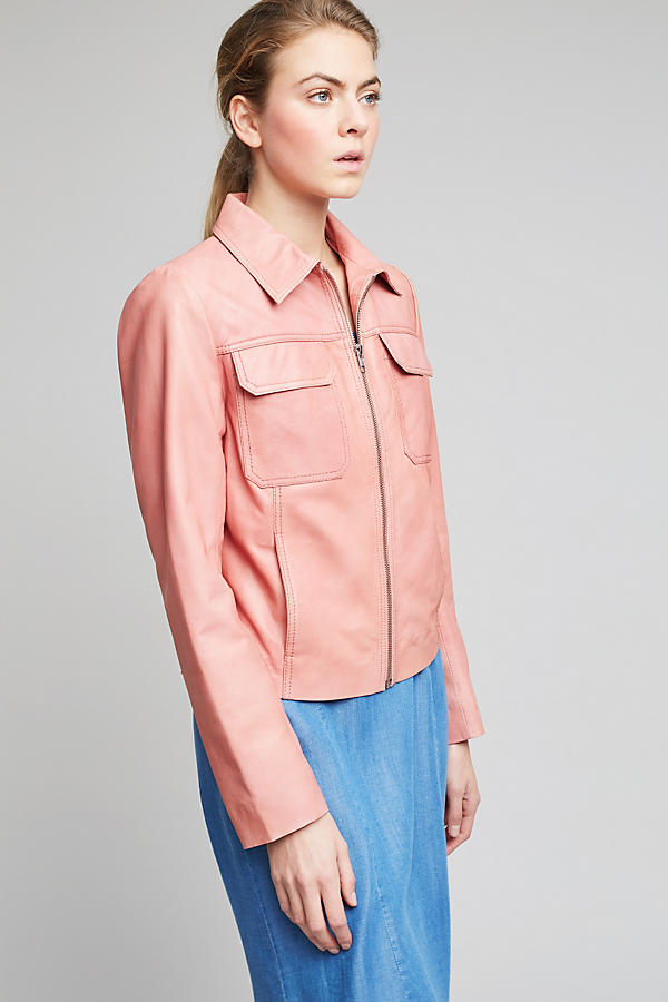 Slide View: 2: Courtney Leather Jacket, Pink