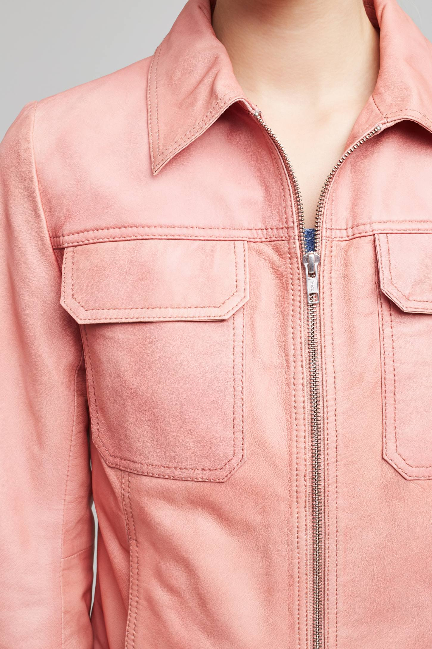 Slide View: 3: Courtney Leather Jacket, Pink