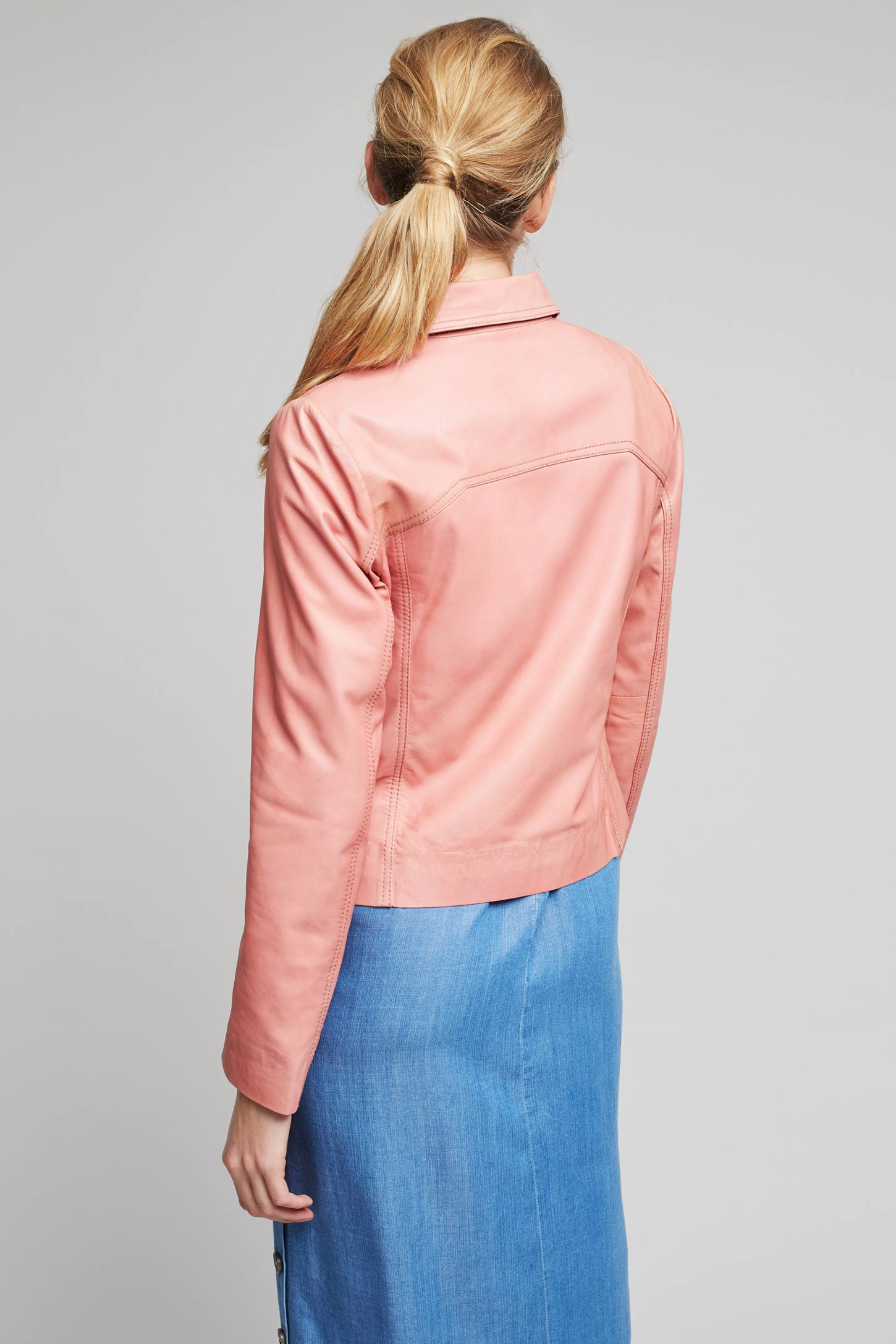 Slide View: 4: Courtney Leather Jacket, Pink