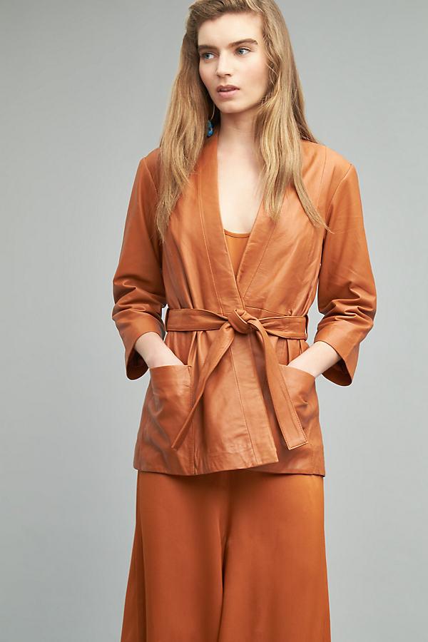 Benjamina Leather Wrap Jacket, Orange - Dark Orange, Size M