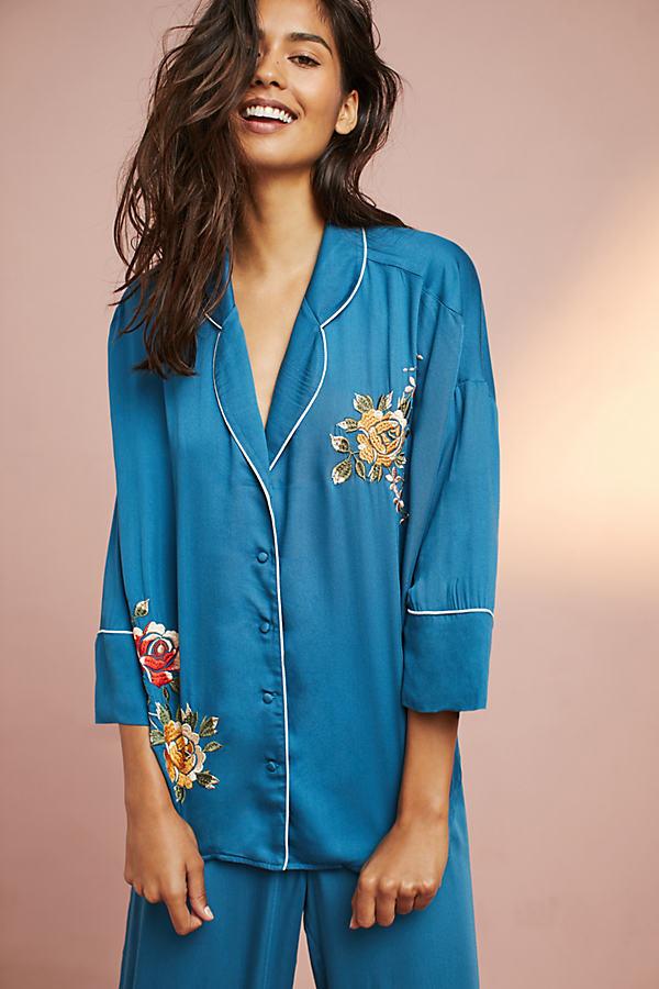Thea Embroidered Pyjama Top - Blue Motif, Size L