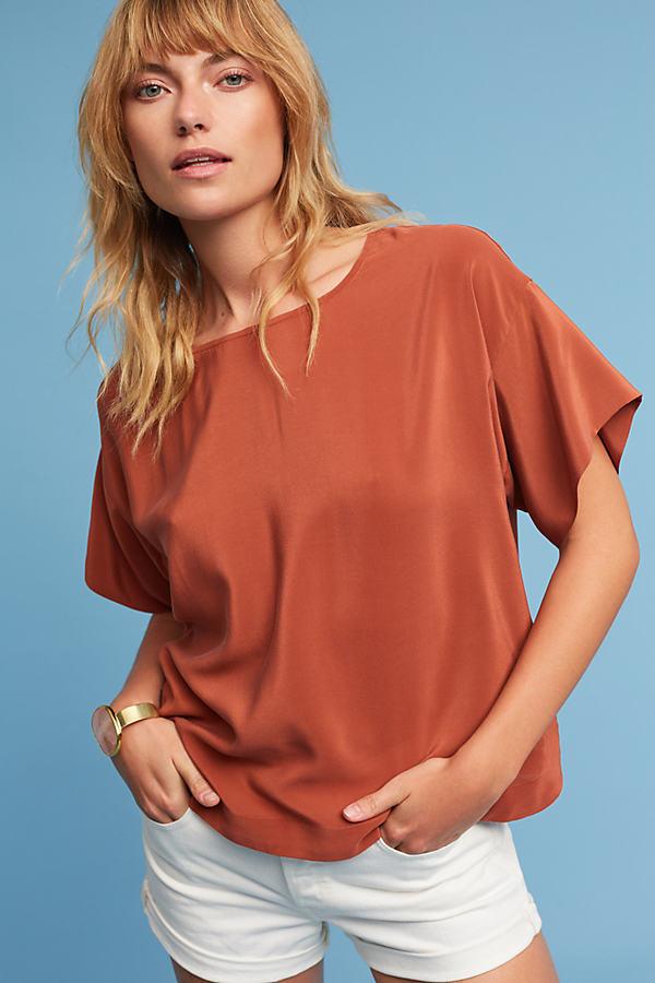 Jules Textured Silk T-Shirt - Dark Orange, Size M