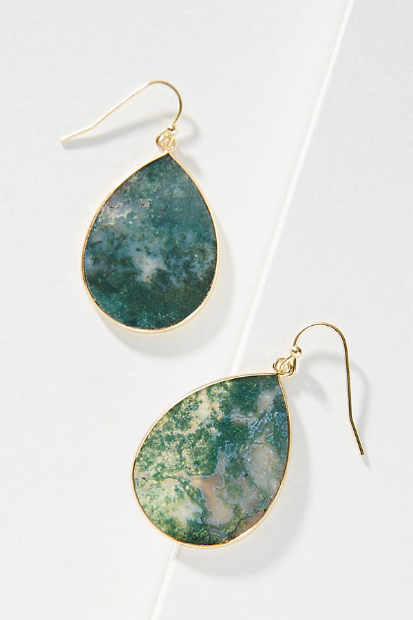 Juni Agate-Drop Earrings - Gold