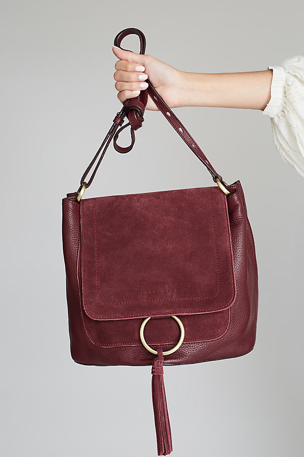 April Suede Shoulder Bag - Wine