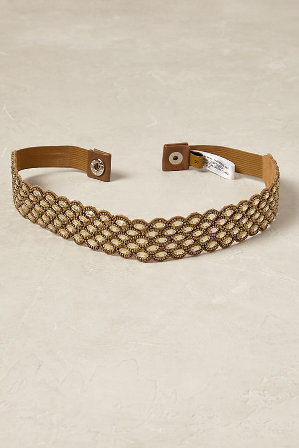 Andorra Beaded Belt - Gold, Size M