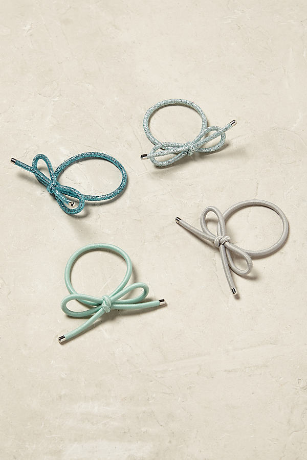 Bow Hair Tie Set - Turquoise