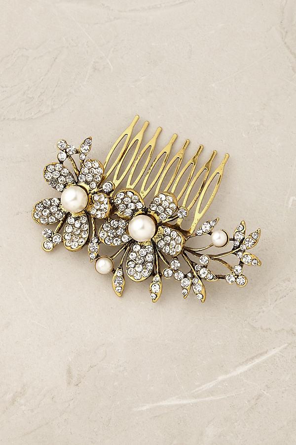 Odette Floral Comb - Pearl