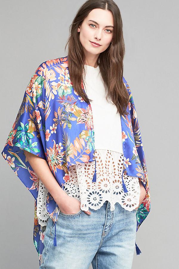August Silk Kimono, Blue - Blue