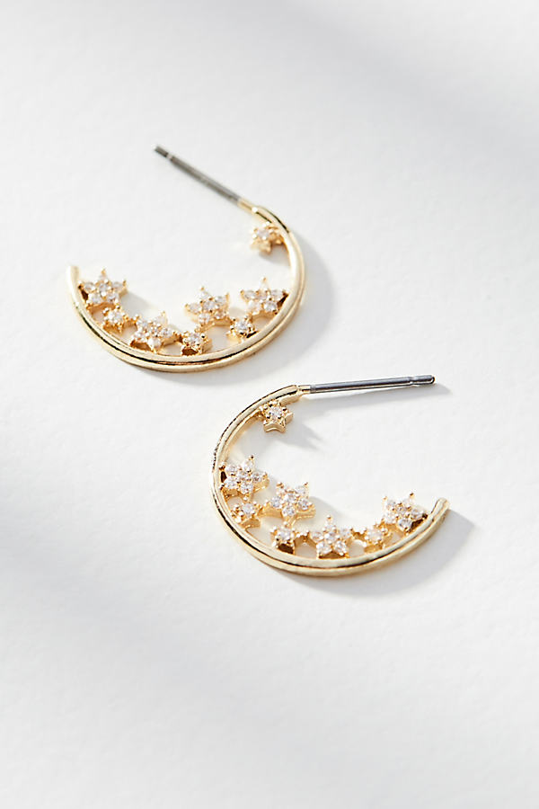 Shining Star Hoop Earrings - Gold