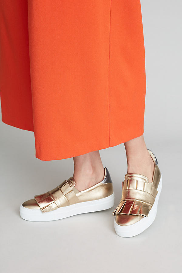 Anna Ruffle Trainers - Gold, Size 39