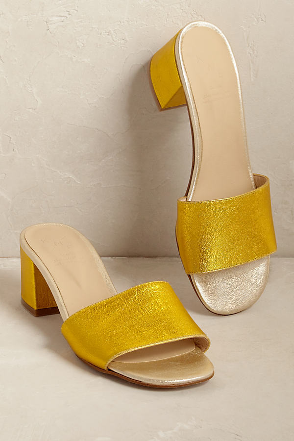 Veronica Metallic Mules - Gold, Size 39