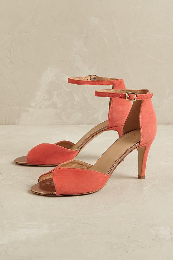 Matilda Suede Heels - Coral, Size 40