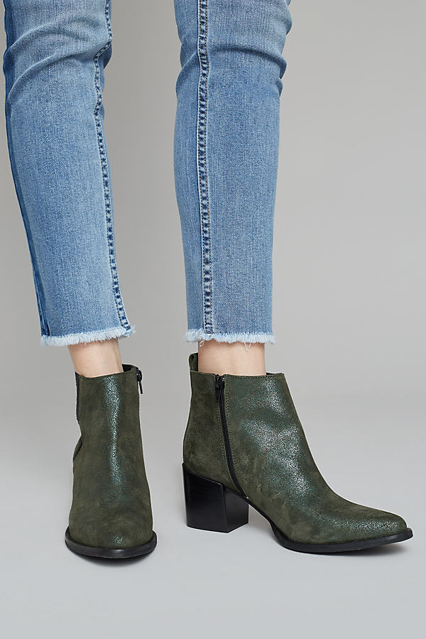 Blithe Suede Ankle Boots - Green, Size 38