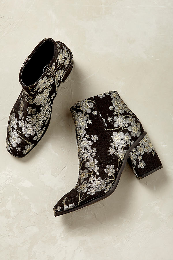 Sevigny Floral Embroidery Ankle Boots - Black Motif, Size 40