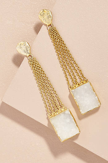 Crystal Druzy Chain Drop Earrings