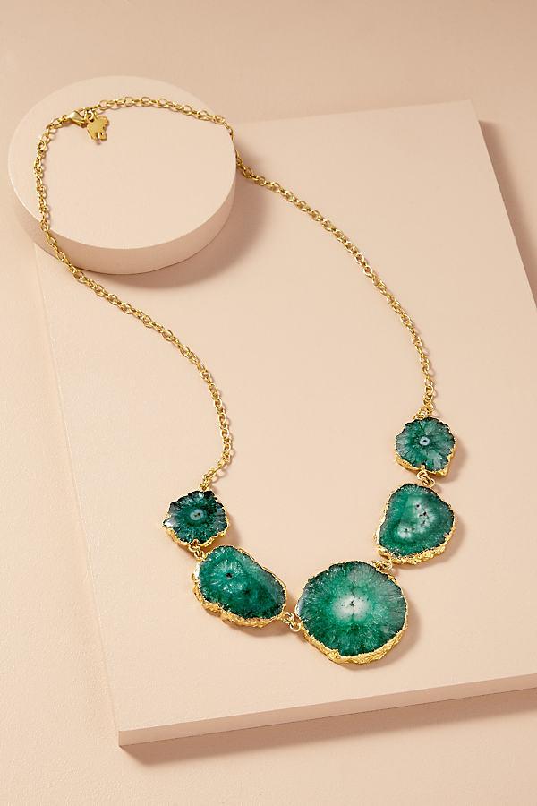 Druzy Multi-Stone Necklace - Green