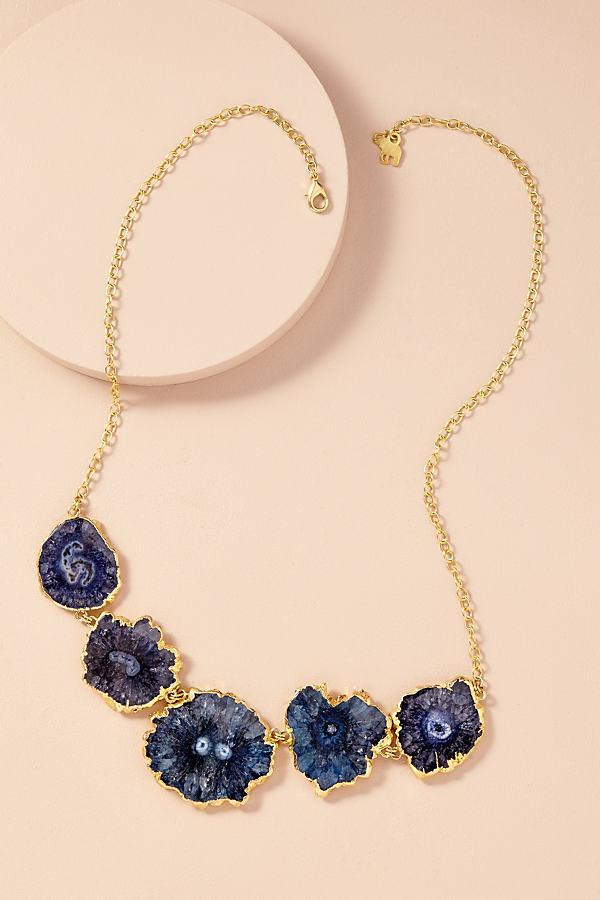 Druzy Multi-Stone Necklace - Blue