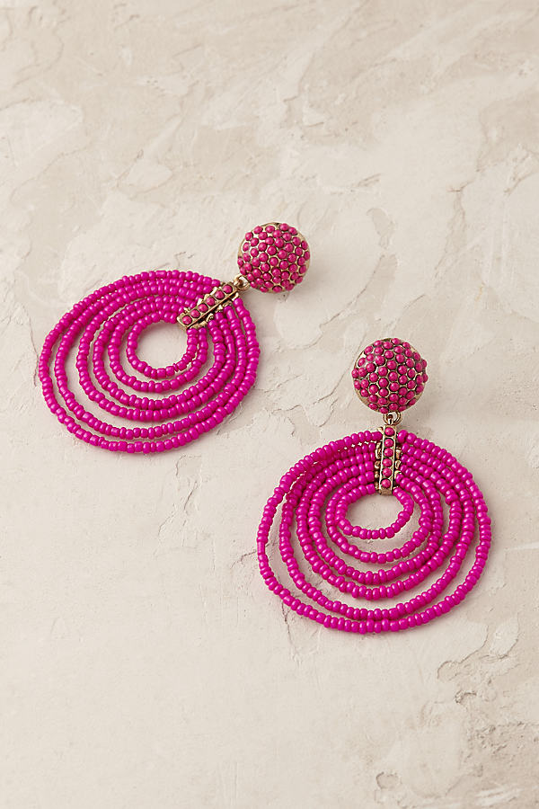 Beaded Hoop Earrings - Medium Pink