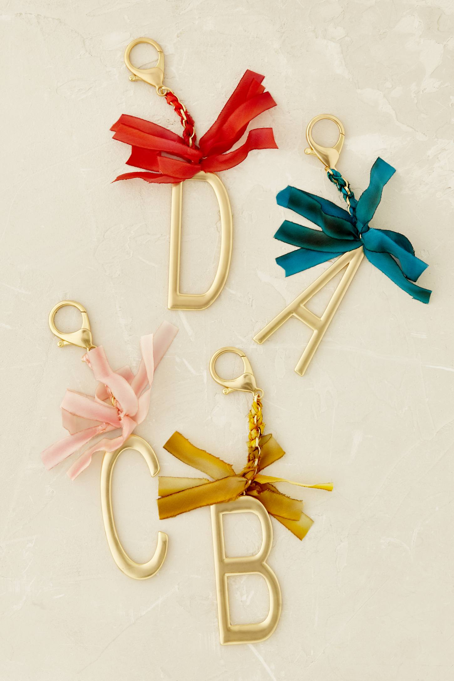 Slide View: 2: Ribboned Monogram Keychain