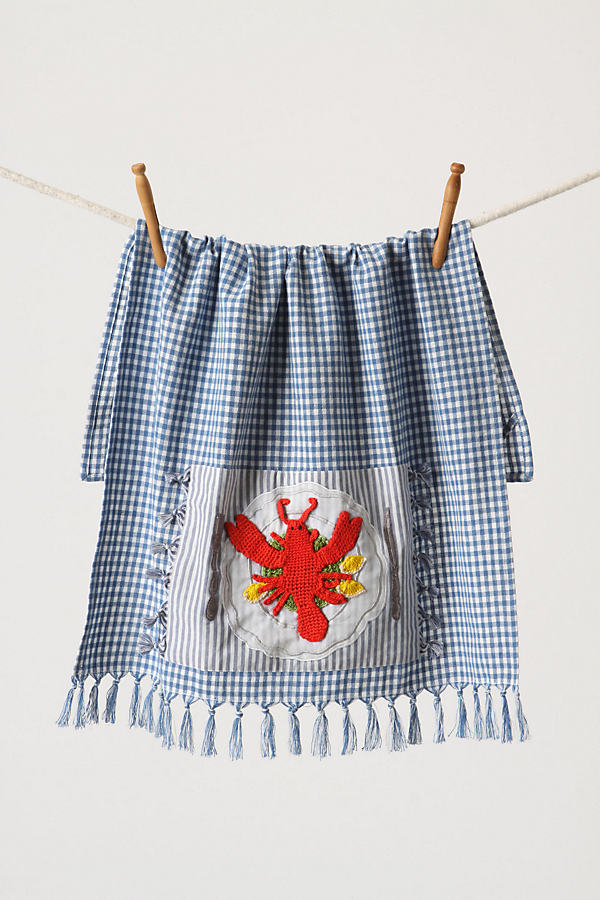 Palmer's Cove Tea Towel, Lobster - Blue, Size Dishtowel.