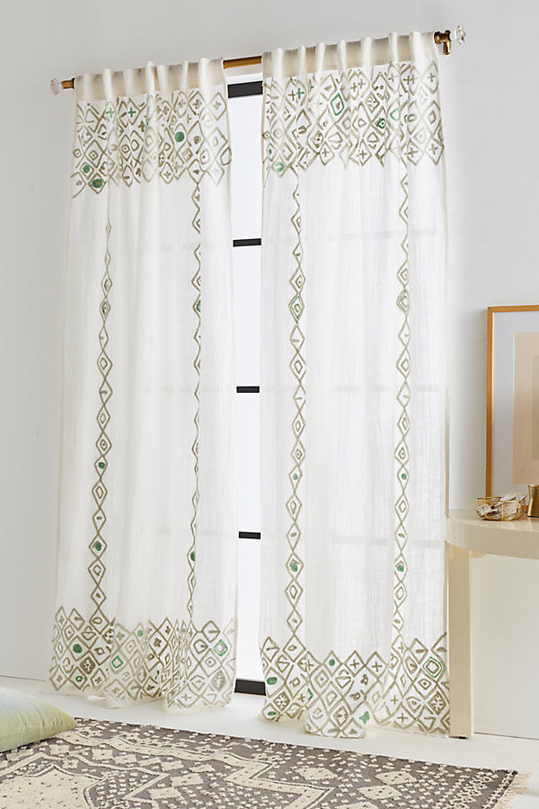 Beaded Pippette Curtain - White, Size 50 X 84