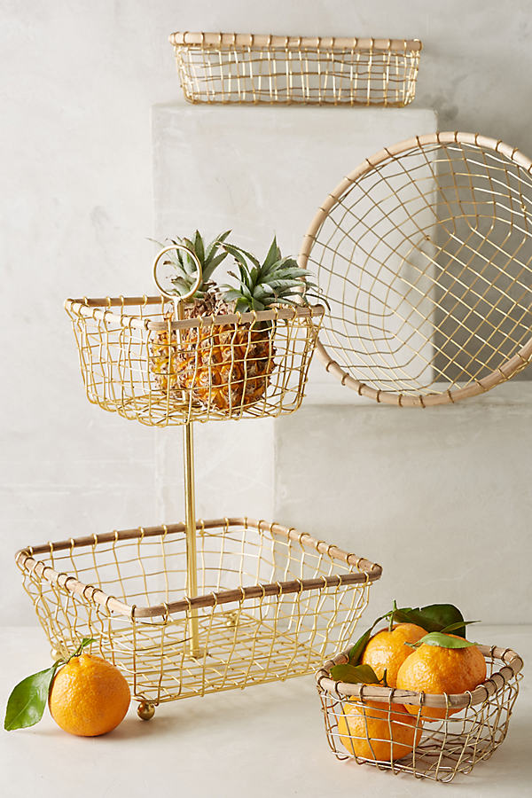 Brushed Wire Kitchen Baskets - Gold, Size Xs